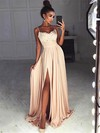 A-line V-neck Sweep Train Chiffon Split Front Prom Dresses #PDS020105296