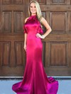Trumpet/Mermaid High Neck Sweep Train Ruffles Prom Dresses #PDS020105306