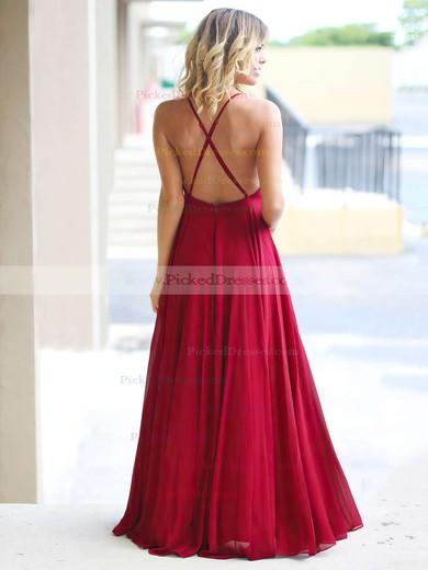 A-line Scoop Neck Floor-length Chiffon Ruffles Prom Dresses #PDS020105315
