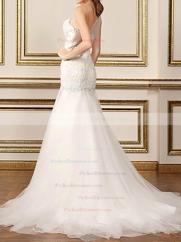 Modest White One Shoulder Tulle Appliques Lace Trumpet/Mermaid Wedding Dresses #PDS00020500