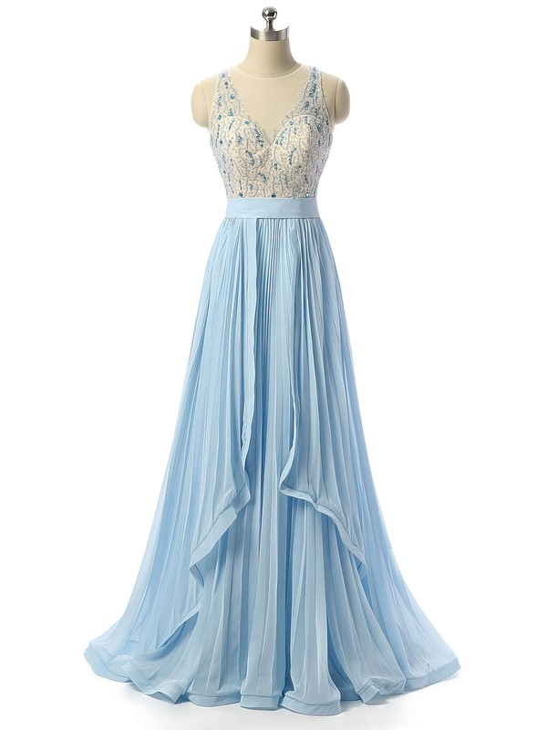 A-line Scoop Neck Floor-length Chiffon Tulle Beading Prom Dresses #PDS020105316