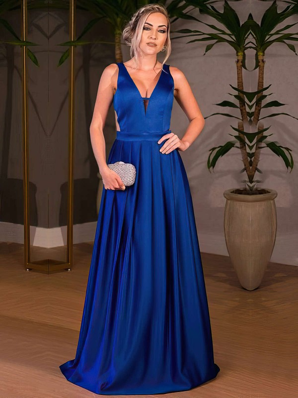 A-line V-neck Floor-length Satin Ruffle Prom Dresses #PDS020105328
