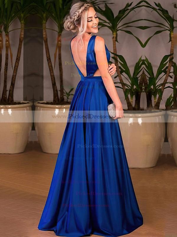 A-line V-neck Floor-length Satin Ruffle Prom Dresses #PDS020105328