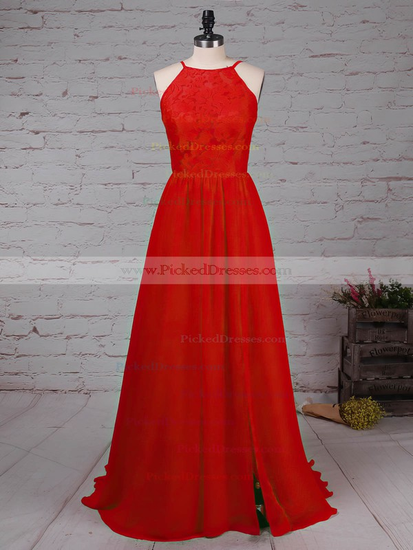 A-line Scoop Neck Sweep Train Lace Chiffon Split Front Prom Dresses #PDS020105340
