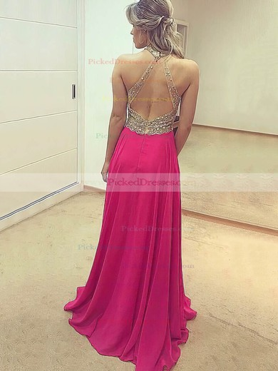 A-line Scoop Neck Floor-length Chiffon Tulle Beading Prom Dresses #PDS020105346