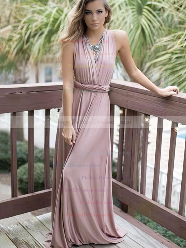A-line V-neck Sweep Train Satin Chiffon Prom Dresses #PDS020105349