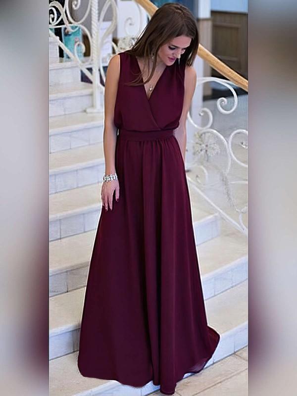 A-line V-neck Sweep Train Chiffon Prom Dresses #PDS020105360