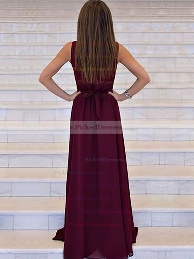 A-line V-neck Sweep Train Chiffon Prom Dresses #PDS020105360