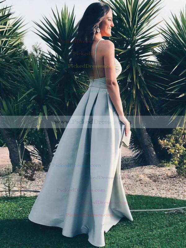 A-line V-neck Floor-length Satin Prom Dresses #PDS020105365