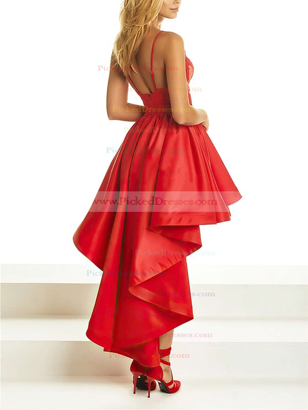 A-line V-neck Asymmetrical Satin Appliques Lace Prom Dresses #PDS020105369