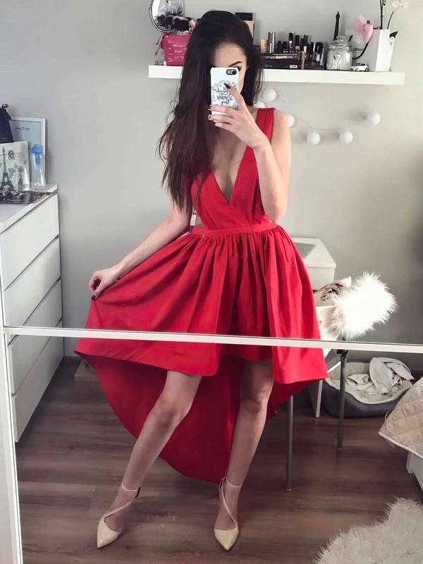 A-line V-neck Asymmetrical with Ruffles Prom Dresses #PDS020105390