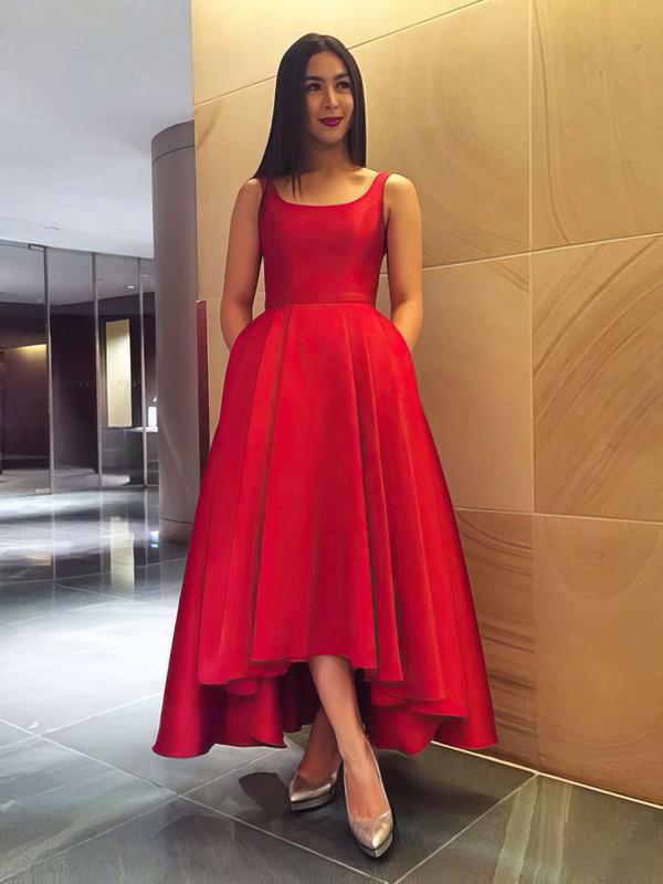 A-line Square Neckline Asymmetrical Satin Bow Prom Dresses #PDS020105397