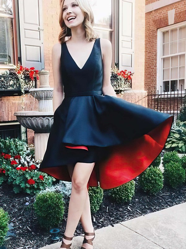 A-line V-neck Asymmetrical Satin Prom Dresses #PDS020105403