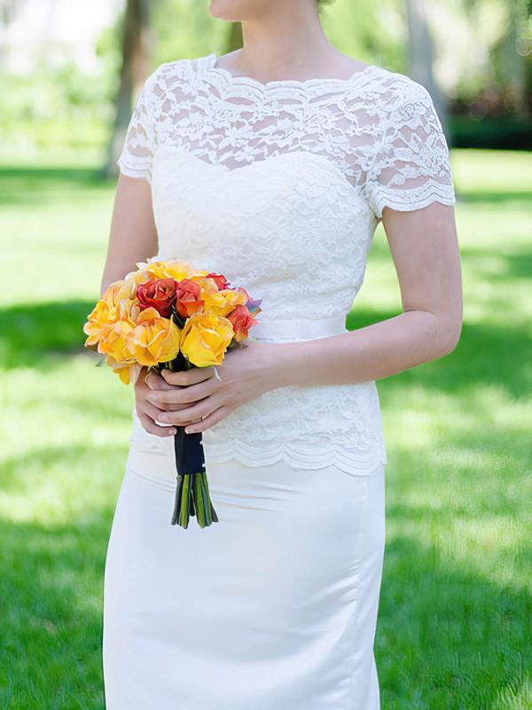 Scoop Neck White Lace Silk-like Satin Sashes / Ribbons Short Sleeve Trumpet/Mermaid Wedding Dresses #PDS00020502