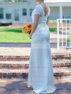 Scoop Neck White Lace Silk-like Satin Sashes / Ribbons Short Sleeve Trumpet/Mermaid Wedding Dresses #PDS00020502