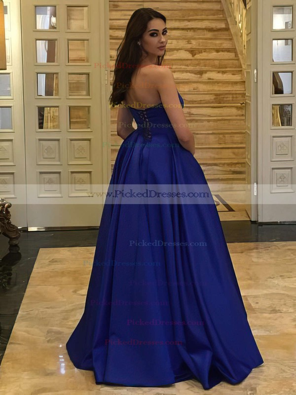 Ball Gown Strapless Floor-length Satin Ruffles Prom Dresses #PDS020105407