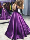 Ball Gown Scoop Neck Floor-length Satin Ruffles Prom Dresses #PDS020105408