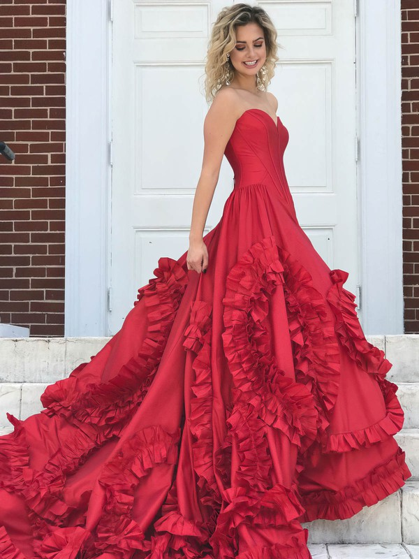 Ball Gown V-neck Sweep Train Satin Cascading Ruffles Prom Dresses #PDS020105418