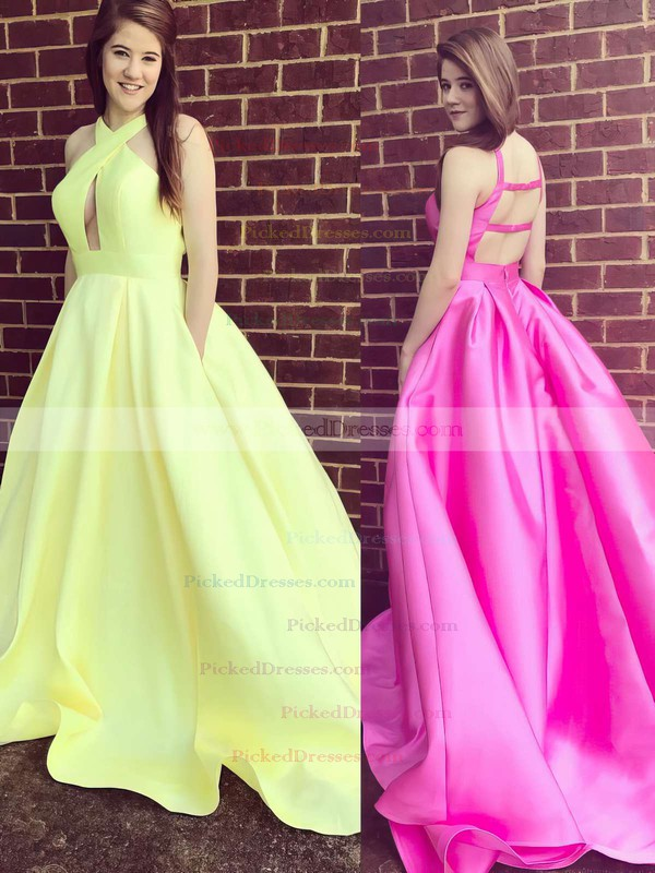 Ball Gown V-neck Sweep Train Satin Pockets Prom Dresses #PDS020105419