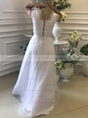 A-line V-neck Floor-length Lace Tulle Prom Dresses #PDS020105447