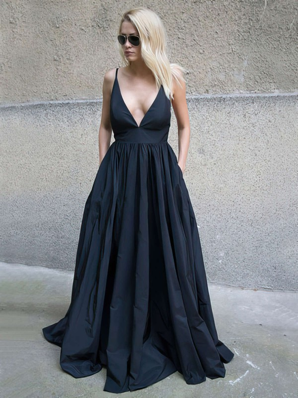 Ball Gown V-neck Floor-length Satin Pockets Prom Dresses #PDS020105455