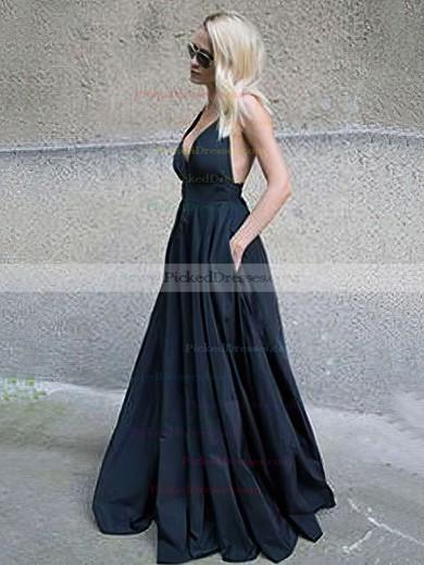 Ball Gown V-neck Floor-length Satin Pockets Prom Dresses #PDS020105455