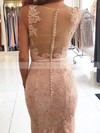 Trumpet/Mermaid V-neck Sweep Train Lace Tulle Beading Prom Dresses #PDS020105460
