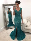 Trumpet/Mermaid V-neck Sweep Train Tulle Beading Prom Dresses #PDS020105470