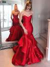 Trumpet/Mermaid Sweetheart Sweep Train Satin Cascading Ruffles Prom Dresses #PDS020105471
