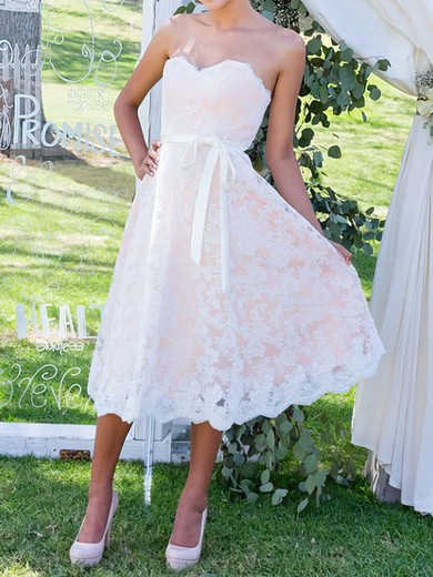 Sweetheart with Sashes/Ribbons Lace Prettiest Tea-length Wedding Dress #PDS00020503