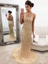Trumpet/Mermaid V-neck Sweep Train Tulle Beading Prom Dresses #PDS020105472