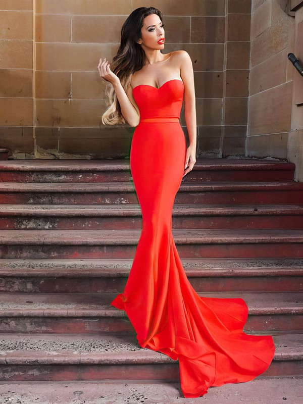 Trumpet/Mermaid Sweetheart Sweep Train Jersey Prom Dresses #PDS020105479