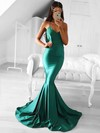 Trumpet/Mermaid V-neck Sweep Train Draped Prom Dresses #PDS020105487