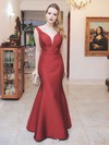 Trumpet/Mermaid V-neck Floor-length Satin Prom Dresses #PDS020105489