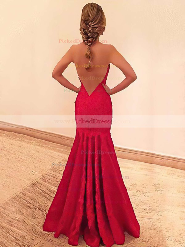 Trumpet/Mermaid Strapless Floor-length Lace Prom Dresses #PDS020105492
