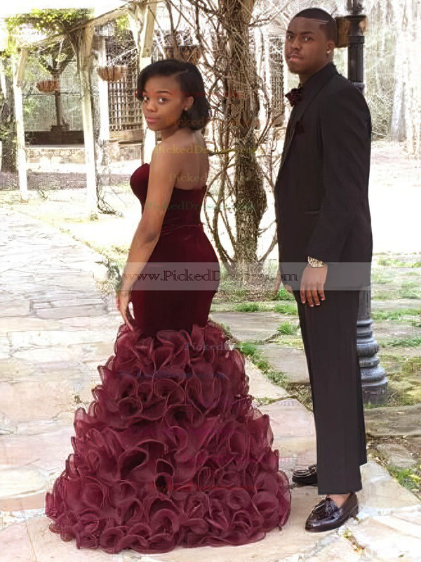 Trumpet/Mermaid V-neck Floor-length Organza Velvet Cascading Ruffles Prom Dresses #PDS020105494
