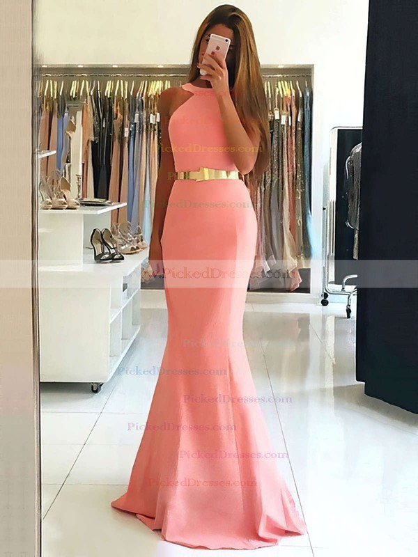 Trumpet/Mermaid Scoop Neck Sweep Train Prom Dresses #PDS020105507