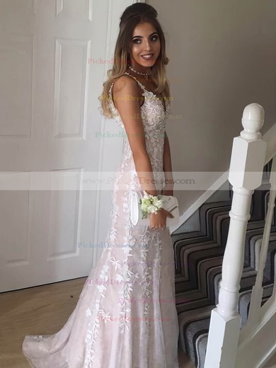 Trumpet/Mermaid V-neck Sweep Train Lace Tulle Beading Prom Dresses #PDS020105508