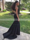 Trumpet/Mermaid V-neck Sweep Train Satin Ruffles Prom Dresses #PDS020105509