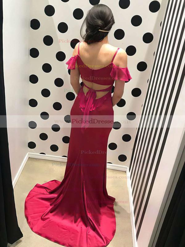 Trumpet/Mermaid V-neck Sweep Train Draped Prom Dresses #PDS020105511