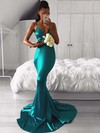 Trumpet/Mermaid V-neck Sweep Train Prom Dresses #PDS020105513
