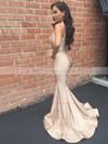 Trumpet/Mermaid V-neck Sweep Train Ruffles Prom Dresses #PDS020105525