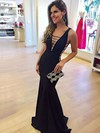Trumpet/Mermaid V-neck Floor-length Prom Dresses #PDS020105528