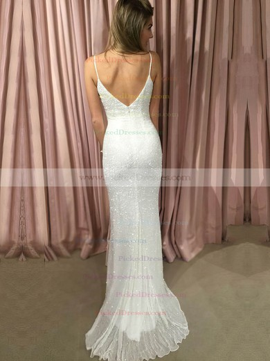 Sheath/Column V-neck Sweep Train Chiffon Sequins Prom Dresses #PDS020105529