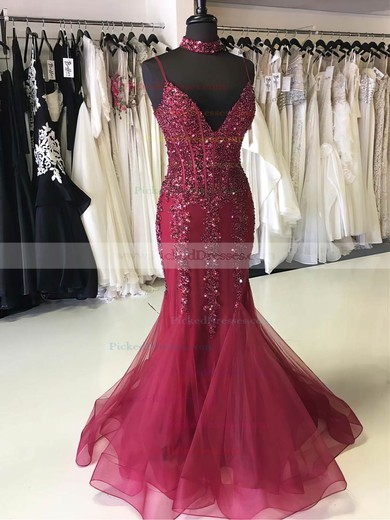 Trumpet/Mermaid V-neck Sweep Train Organza Beading Prom Dresses #PDS020105530