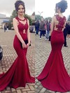 Trumpet/Mermaid Scoop Neck Sweep Train Jersey Appliques Lace Prom Dresses #PDS020105540