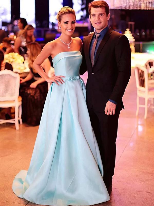 Princess Strapless Sweep Train Satin Prom Dresses #PDS020105559