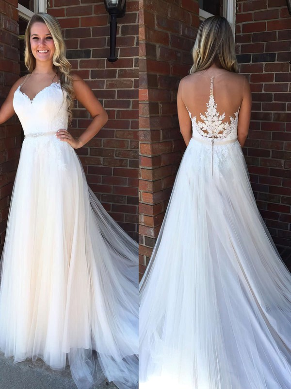 Princess Scoop Neck Sweep Train Tulle Appliques Lace Prom Dresses #PDS020105563
