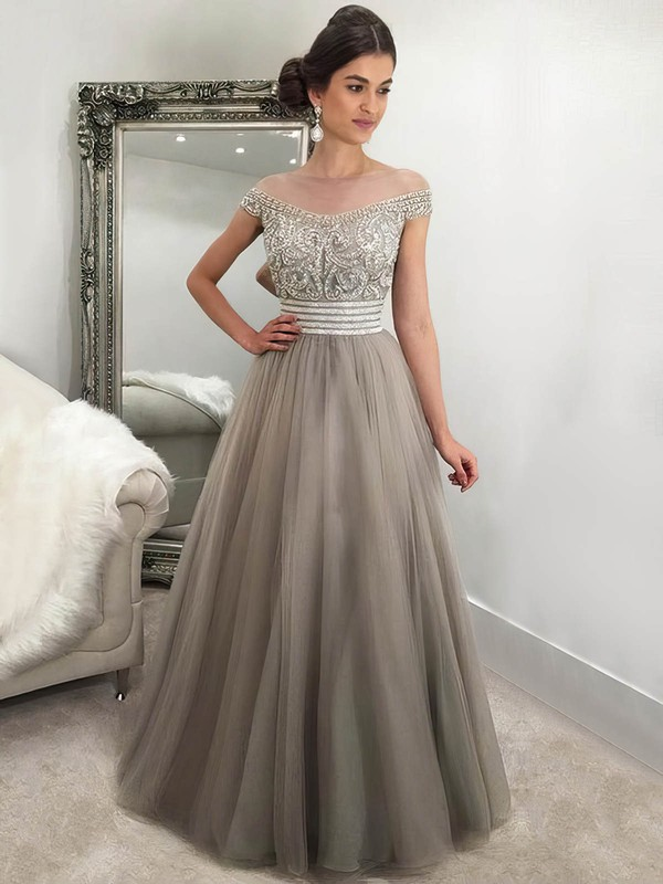 Princess Scoop Neck Floor-length Tulle Beading Prom Dresses #PDS020105566