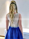 Princess Scoop Neck Sweep Train Satin Tulle Beading Prom Dresses #PDS020105567